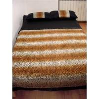 Alnada prekrivači za bračni krevet Leopard print sa postavom od štepanog crnog satena